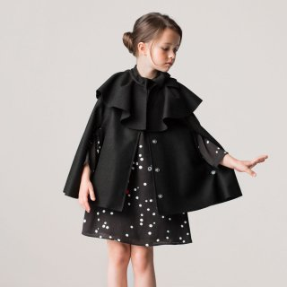 <img class='new_mark_img1' src='https://img.shop-pro.jp/img/new/icons1.gif' style='border:none;display:inline;margin:0px;padding:0px;width:auto;' />LANVIN KIDS|ランバン キッズ|子供服|大阪正規取扱店|リボン付きウールケープ・ポンチョ|ブラック