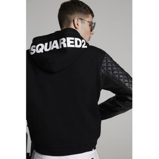 <img class='new_mark_img1' src='https://img.shop-pro.jp/img/new/icons1.gif' style='border:none;display:inline;margin:0px;padding:0px;width:auto;' />DSQUARED 2|ディースクエアード メンズ通販|大阪正規取扱店舗|最短翌日着|レザー切替 フーディジャケット|ブラック