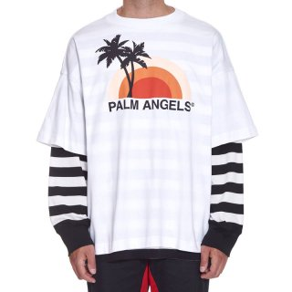 <img class='new_mark_img1' src='https://img.shop-pro.jp/img/new/icons1.gif' style='border:none;display:inline;margin:0px;padding:0px;width:auto;' />Palm Angels|パームエンジェルス メンズ通販|大阪正規取扱店舗|最短翌日着|SUNSET LAYERED長袖Tシャツ|ホワイト