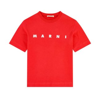 <img class='new_mark_img1' src='https://img.shop-pro.jp/img/new/icons1.gif' style='border:none;display:inline;margin:0px;padding:0px;width:auto;' />【ラスト1点】 MARNI KIDS|マルニ キッズ 通販|ロゴプリント 半袖Tシャツ|オレンジ