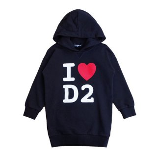 <img class='new_mark_img1' src='https://img.shop-pro.jp/img/new/icons1.gif' style='border:none;display:inline;margin:0px;padding:0px;width:auto;' />DSQUARED2 KIDS|ディースクエアード キッズ 通販|I LOVE D2 スウェット・ワンピース|ブラック