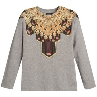 <img class='new_mark_img1' src='https://img.shop-pro.jp/img/new/icons16.gif' style='border:none;display:inline;margin:0px;padding:0px;width:auto;' />【60%OFF】 Marcelo burlon Kids(マルセロバーロン キッズ)レオパード プリント長袖Tシャツ/GREY