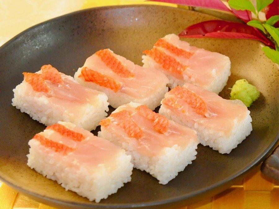天皇海山 セレブ金目鯛の押し寿司  6切れ