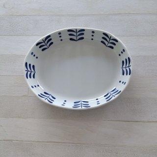 カレー皿「L」 「ブルーハーブ柄」