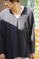 NO CONTROL AIR キュプラコットンフィブリルカルゼプルオーバーVネックシャツ【Black】