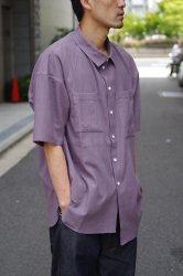 RICE NINE TEN ASYMMTRIC VIYELLA WASH SHIRT【Purple】