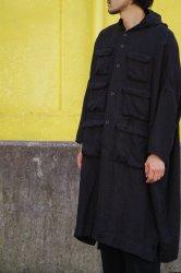 FIRMUM 25/1リネンビエラオーバーフードコート【Black】