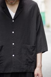 FIRMUM リネンレーヨンライトシャンブレーシャツジャケット【Black】