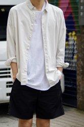 FIRMUM ラフコットンシーチングワイドシャツ【Frosty White】