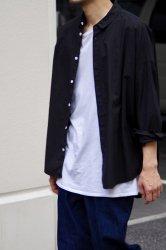 FIRMUM ラフコットンシーチングワイドシャツ【Black】