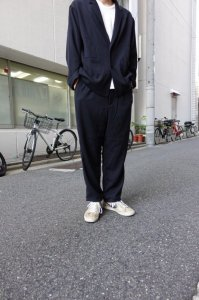 LAMOND【ラモンド】 KERSEY STRECH WIDE PANTS【BLACK】