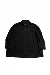 FIRMUM【フィルマム】綿麻シーチングワイドシャツジャケット【BLACK】