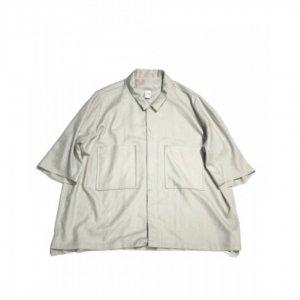 NO CONTROL AIR【ノーコントロールエアー】 リネンライクチンツブッチャーs/sシャツ【MIST GREY】
