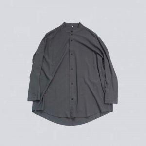 FIRMUM【フィルマム】レーヨンシーチングガーメントダイマオカラーオーバーシャツ【BLUE GREY】