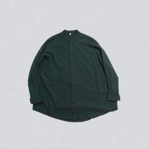 FIRMUM【フィルマム】レーヨンシーチングガーメントダイマオカラーオーバーシャツ【BOTTLE GREEN】