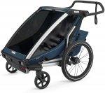 チャイルドトレーラー  【即納】チャリオット・クロス2<Thule Chariot Cross2> チャイルドトレーラー 自転車用ベビーカー  年子 双子 6歳 子供 2人 折り畳み 丈夫 雨 全天候 色:Majo-Blue