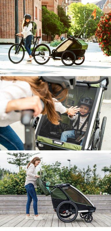【即納】スーリー・チャリオット・キャブ2<Thule Chariot CAB2>★3点装備:アーム&ベビーカー前輪&レインカバー★色:イエロー/ブラック★ハードボトム【画像4】
