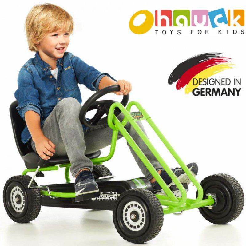 【即納】ドイツの名門ハウク・ペダル・ゴーカート<Hauck Lightning Pedal Go Kart> 速走・機敏操作 頑丈フレーム しっかりグリップ 欧米のベストセラー  カラー:グリーン