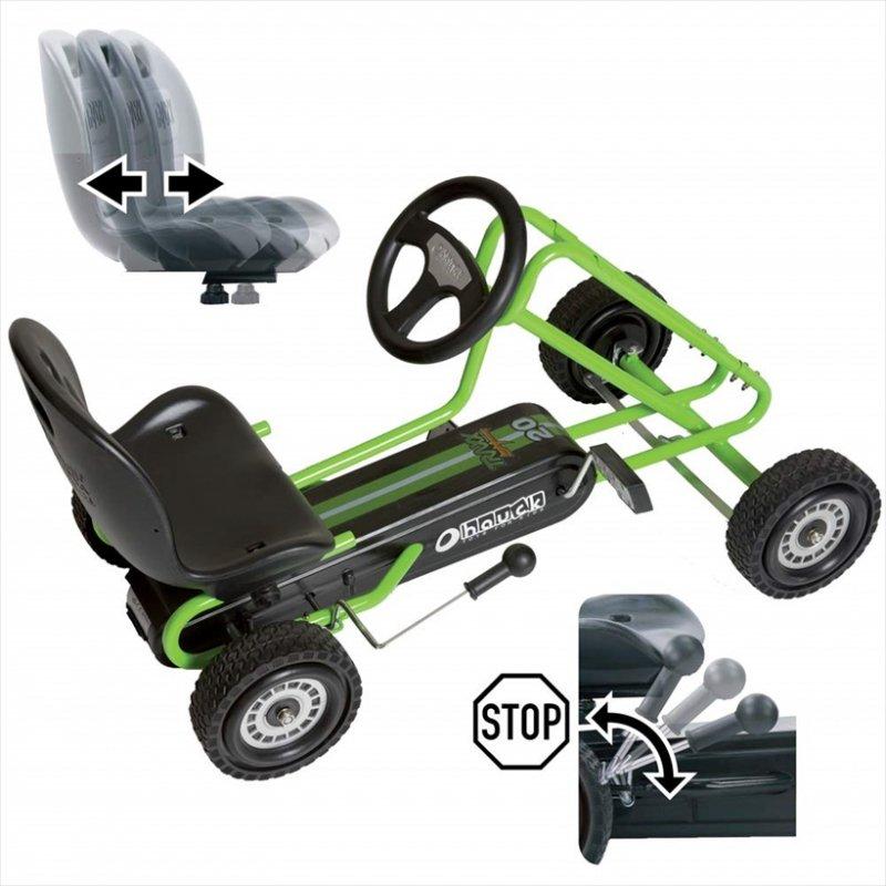 【即納】ドイツの名門ハウク・ペダル・ゴーカート<Hauck Lightning Pedal Go Kart> 速走・機敏操作 頑丈フレーム しっかりグリップ 欧米のベストセラー  カラー:グリーン【画像2】