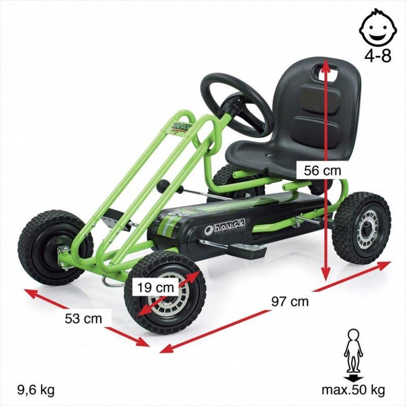 【即納】ドイツの名門ハウク・ペダル・ゴーカート<Hauck Lightning Pedal Go Kart> 速走・機敏操作 頑丈フレーム しっかりグリップ 欧米のベストセラー  カラー:グリーン【画像3】