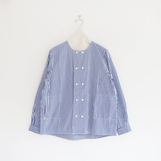 Charpentier de Vaisseau | ダブルボタンシャツ〈 Sandy 〉White × Navy | C003211TS434