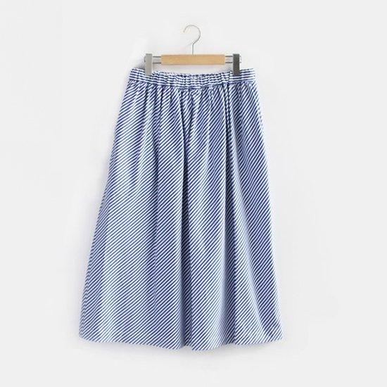 Charpentier de Vaisseau   ギャザースカート〈 Belinda 〉White × Navy Stirpe   C003191PS307