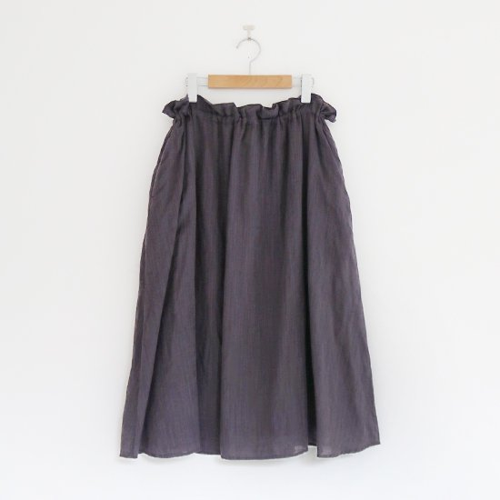ゴーシュ | リネンコットンギャザースカート Dark Grey | F019201PS408