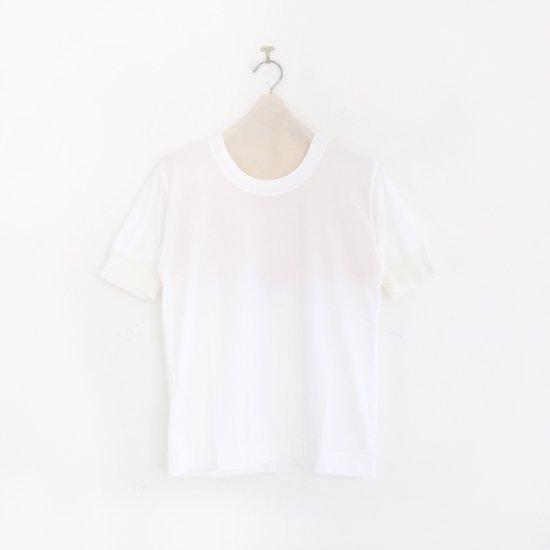 Charpentier de Vaisseau | UネックリブショートスリーブTシャツ〈 Jeff 〉White | C003191TT325