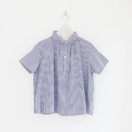 Gallego Desportes | ウェーブカラーシャツ Blue Stripe | D001201TS213