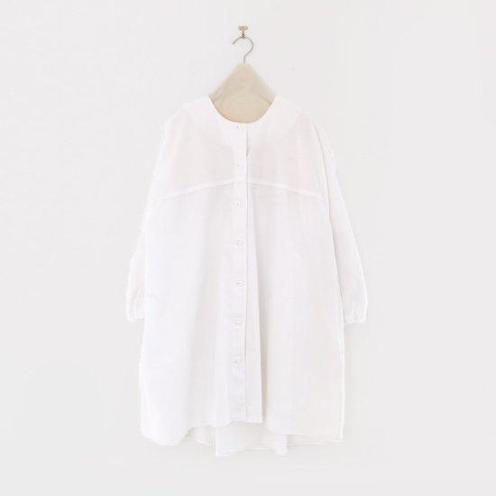 Atelier d'antan | ガーメントダイノーカラーロングシャツ〈 Seton 〉White | A232202TS468