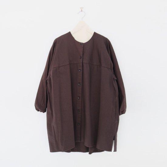 Atelier d'antan | ガーメントダイノーカラーロングシャツ〈 Seton 〉Brown | A232202TS468