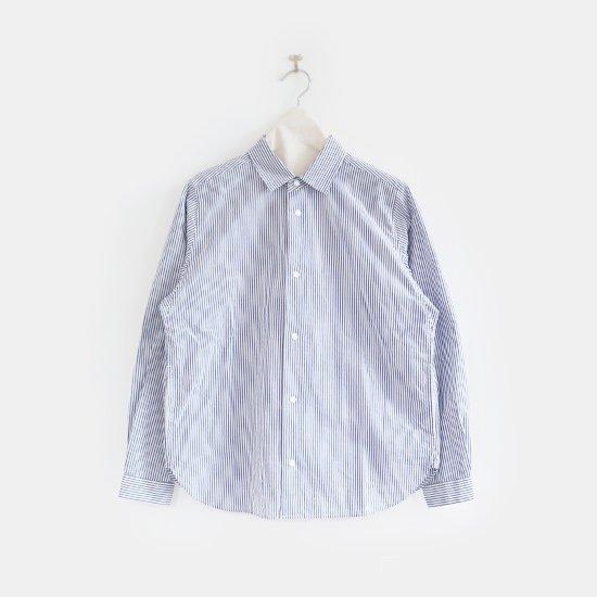 Yaeca | コットンコンフォートシャツ  White×Navy Stripe | F052202TS150