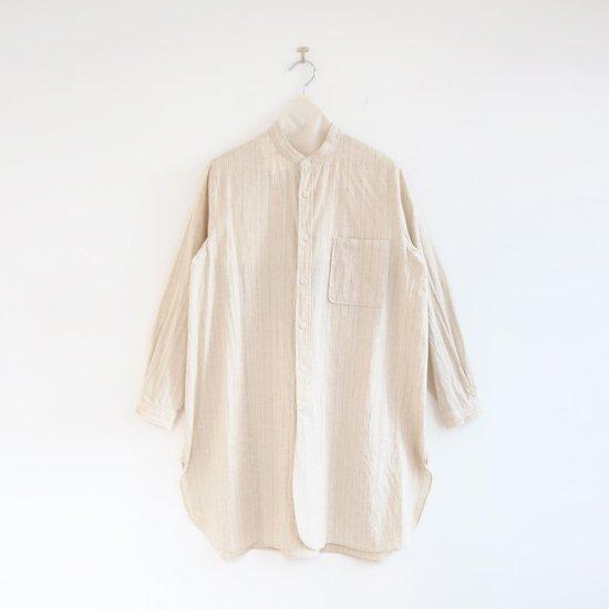 Yaeca Write | スタンドカラーロングシャツ Natural Stripe | F052202TS164