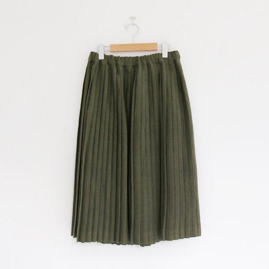 Charpentier de Vaisseau | リネンナロープリーツスカート〈 Brenda 〉Olive | C003201PS385
