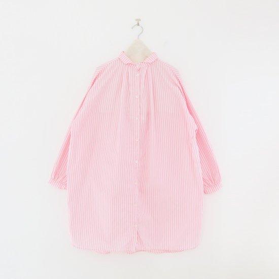 Gallego Desportes | コットンタックロングシャツ Pink Stripe | D001211TS212