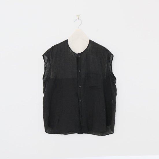 ゴーシュ | 80/1リネンフレンチスリーブシャツ Black | F019211TS460