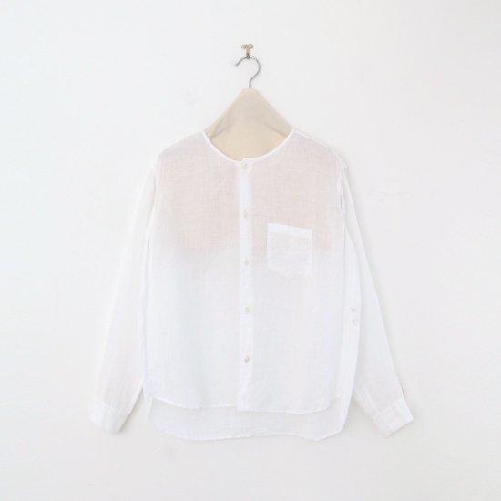 ゴーシュ | 80/1リネンノーカラーシャツ White | F019211TS458