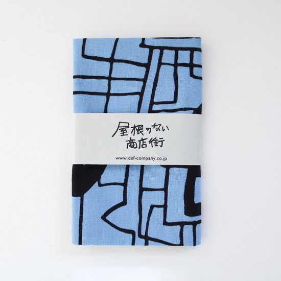 かまわぬ × haus | 屋根のない商店街てぬぐい〈 drawing by 松林誠 〉Blue × Black | F501211FG001