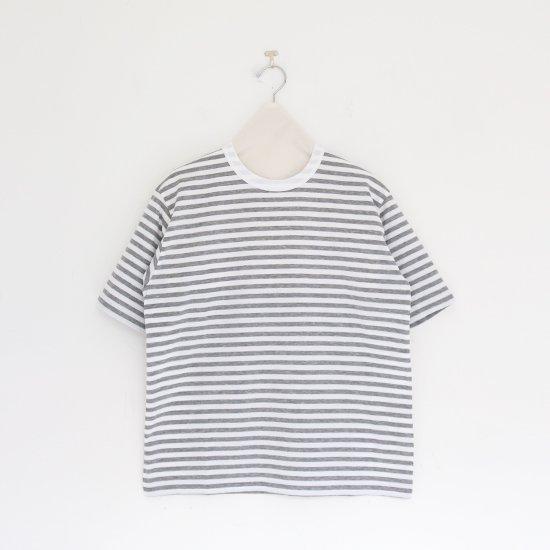 Charpentier de Vaisseau   クルーネックボーダーTシャツ〈 Jess 〉White × Grey   C003211TT473