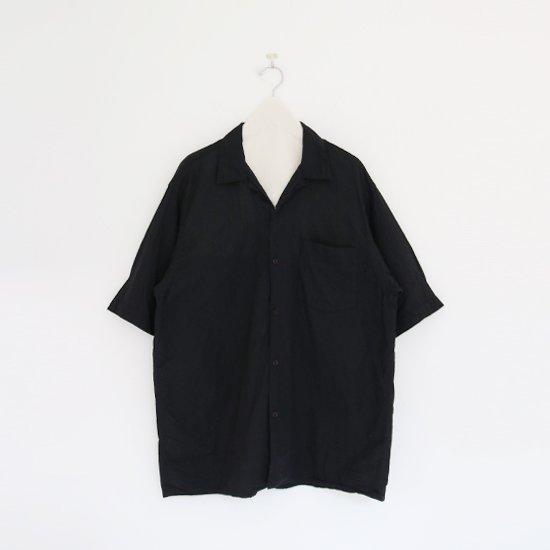 Comoli   ベタシャンオープンカラーシャツ Black   F035211TS155