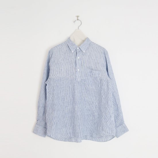 Charpentier de Vaisseau   リネンプルオーバーシャツ〈 Steven 〉Navy Stripe   C003211TS429