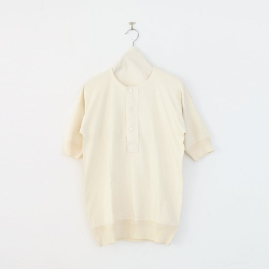 Olde Homesteader | コットンヘンリーネックTシャツ Natural | F067211TT004