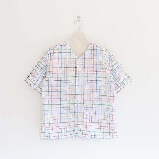 Charpentier de Vaisseau   Vネックリングボタンシャツ〈 Steen 〉White Multi   C003211TS433