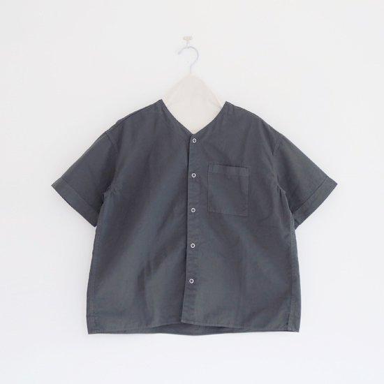 Charpentier de Vaisseau   Vネックリングボタンシャツ〈 Steen 〉Dark Grey   C003211TS433