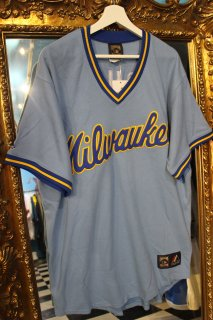 MLB MILWAUKEE BREWERS V-NECK B/B SHIRT(ミルウォーキー・ブルワーズ  Vネック ベースボールシャツ)