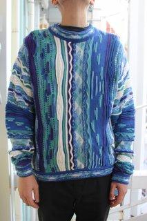 MIX KNIT SWEATER BLUE(ニット セーター)