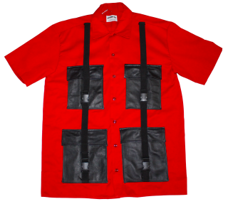 REMAKE LEATHER POCKET S/S WORK SHIRT(RED)