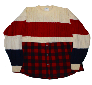 REMAKE SWEATER FLANNEL SHIRT