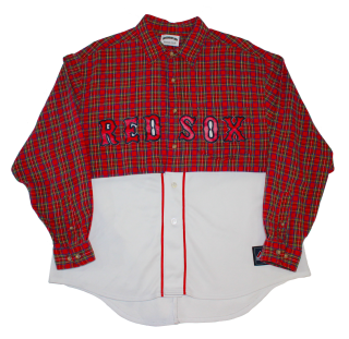 REMAKE BASEBALL FLANNEL CHECK L/S SHIRT(RED SOX)