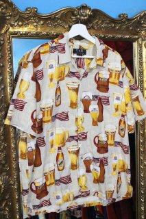 USA BEER RAYON S/S SHIRT(ビール柄 レーヨン シャツ)